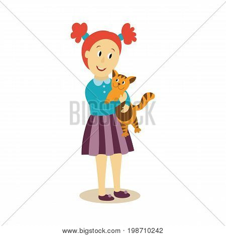 vector young girl hugs cuddles her cat flat isolated illustration on a white background. Child, kid in striped skirt embracing her pet with love. Happy family hugs concept
