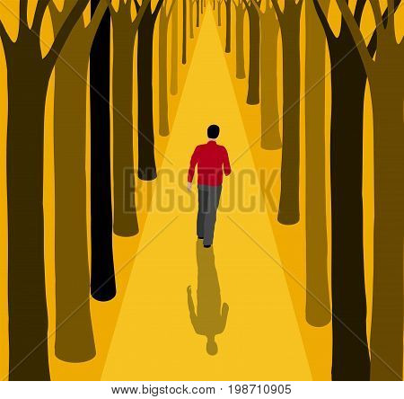 Man walking alone on a path between the trees