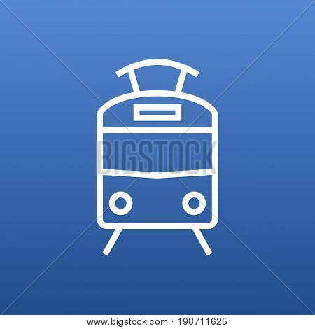 Isolated Streetcar Outline Symbol On Clean Background