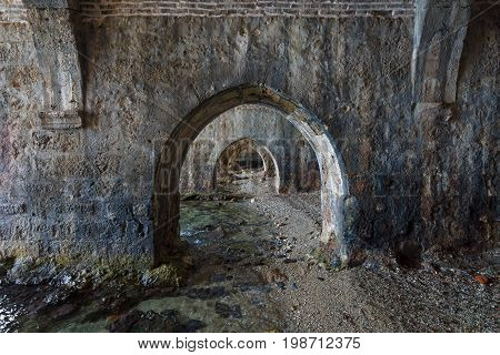 The interior of the shipyard (Tersane) in the ruins of a medieval fortress (Alanya Castle). Alanya. Turkey.