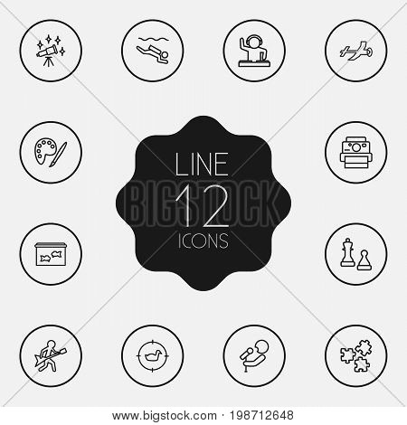 Set Of 12 Entertainment Outline Icons Set
