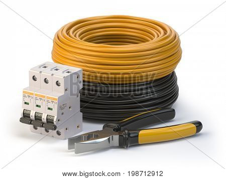 Electric cable, pliers and circuit breake risolated on white background. Electric components and instruments. 3d illustration