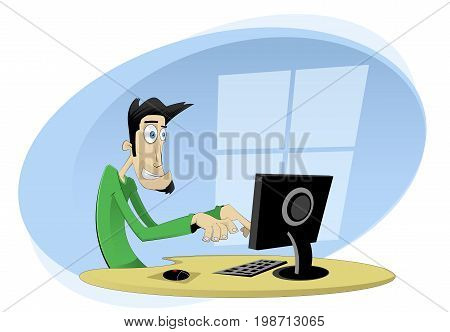 Workplace concept cartoon illustration. Man working on computer. Vector