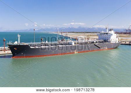 Tanker ship anchored in a harbor. Livorno Italy