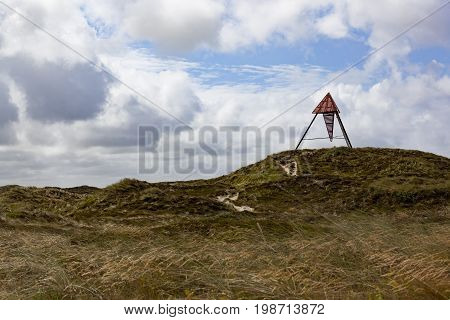 Beacon at the national park Thy in Denmark