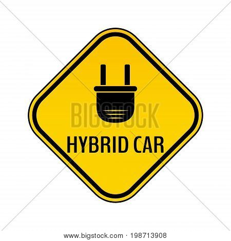 Hybrid car caution sticker. Save energy automobile warning sign. Electric plug icon in yellow and black rhombus to a vehicle glass. Vector illustration.
