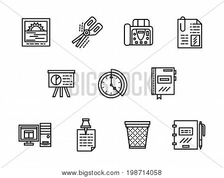 Symbols for office equipment and accessories. Workflow organization and management tools. Collection of simple black line design vector icons.