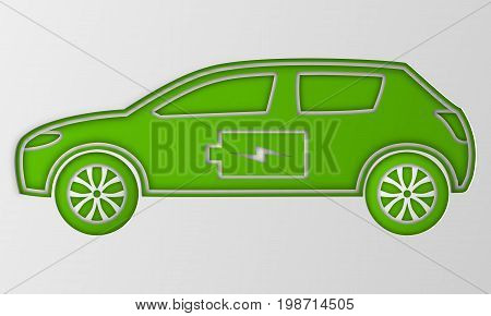 Green hybrid origami car in paper art. Electric powered environmental vehicle. Contour automobile with battery sign. Vector illustration.