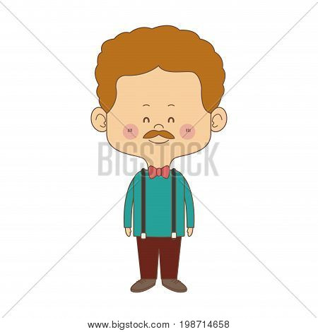 cute man cartoon standing formal clothes character vector illustration