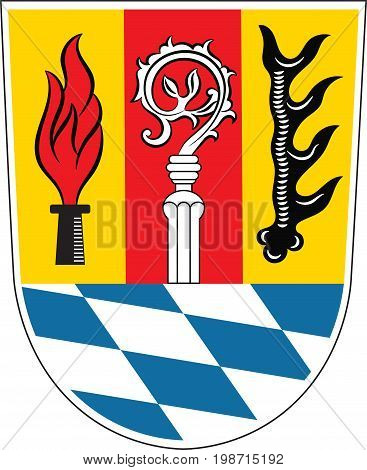 Coat of arms of Eichstatt is a district in Upper Bavaria of Germany. Vector illustration from the