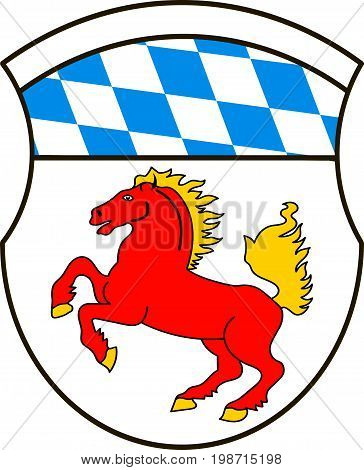 Coat of arms of Erding is a district in Bavaria Germany. Vector illustration from the