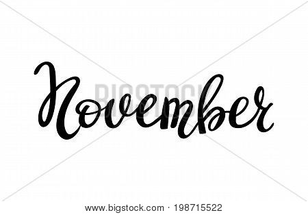Hand drawn typography lettering November isolated on the white background. Fun brush ink inscription for photo overlays, greeting and invitation card or t-shirt print design.