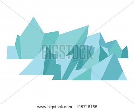 Glacier vector icons. Icelandic schematic landscape isolated on white background