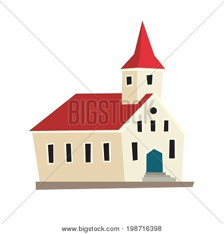 Icelandic temple icon. Nordic schematic cartoon capital. Vector illustration isolated on white background