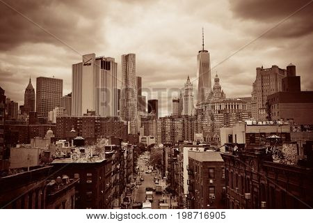 NEW YORK CITY - AUG 15: Chinatown street view August 15, 2014 in Manhattan, New York City. It is one of the largest and oldest ethnic Chinese communities outside of Asia with population of 90k to 100k