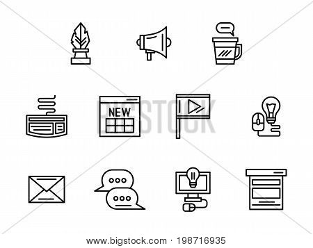 Symbols of web blog. Blogging, posts, creative ideas and content making. Social media concept. Collection of simple black line design vector icons.