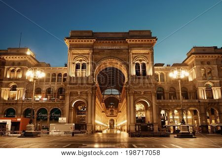 MILAN - MAY 24: Galleria Vittorio Emanuele II shopping mall at night on May 24, 2016 in Milan, Italy. Milan is the second most populous in Italy and the main industrial and financial center.