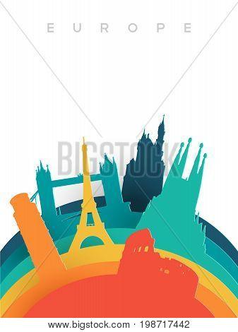 Travel Europe 3D Paper Cut World Landmarks