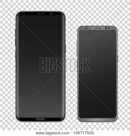 Modern realistic smartphone black and gray. Empty smartphone screen with a shiny layer. Isolated on a transparent background. Samsung Galaxy s8 edge style smartphone. Layout Samsung Galaxy. - vector clipart