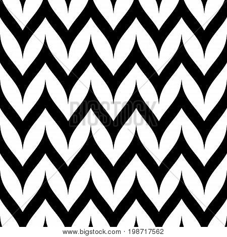 Zigzag seamless pattern. Curved wavy Zig Zag lines. Simple stylish abstract geometric background. Monochrome striped texture. Black & white. Chevron pattern. Design element for decor, fabric, prints.