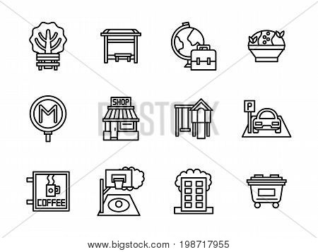 Symbols for areas of city. Park or garden zone for leisure, playgrounds and education facilities, residential district and parking. Collection of simple black line design vector icons.