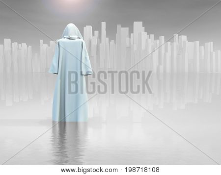 Surrealism. Robed Traveler before the pure city.   3D rendering