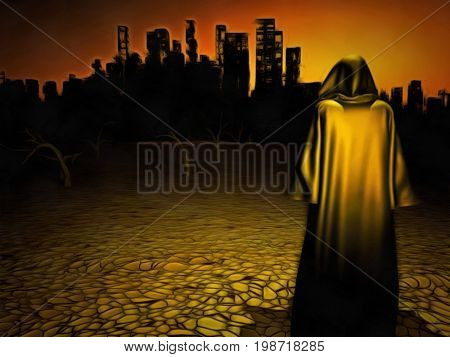 Surrealism. Figure in cloak stands before desolate city.   3D rendering