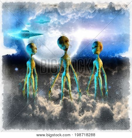 Surreal painting. Three aliens in clouds. Flying saucers in the sky.   3D rendering  Some elements provided courtesy of NASA