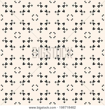 Ornamental texture, vector monochrome seamless pattern. Abstract delicate background with small geometric figures, weaving tracery. Ornamental background. Light design element for prints, decor, fabric, cloth, wrapping.