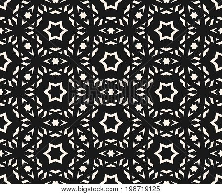 Delicate vector seamless pattern. Elegant ornament texture with linear geometric shapes, stars. Abstract dark monochrome ornamental background, repeat tiles. Asian style design for decor, covers, web. Asian pattern, stars pattern, ornamental pattern