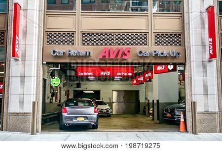 New York August 3 2017: Avis rental car branch in Manhattan.