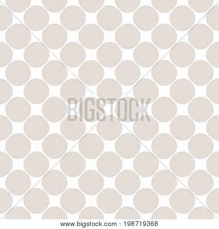Vector seamless pattern with circles. Polka dot texture. Simple geometric background in soft pastel colors white & beige. Subtle design element for prints, furniture, fabric, textile, decor, package. Design pattern. Mesh pattern.