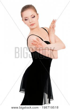 Beautiful one caucasian young woman ballerina ballet dancer, isolated on white background