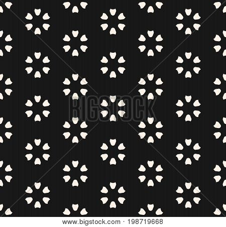 Vector monochrome seamless pattern. Abstract floral geometric texture. Simple dark minimalist background. Floral pattern. Perforated surface. Design element for prints decor, covers, textile, fabric, digital, web. Floral background, design pattern.