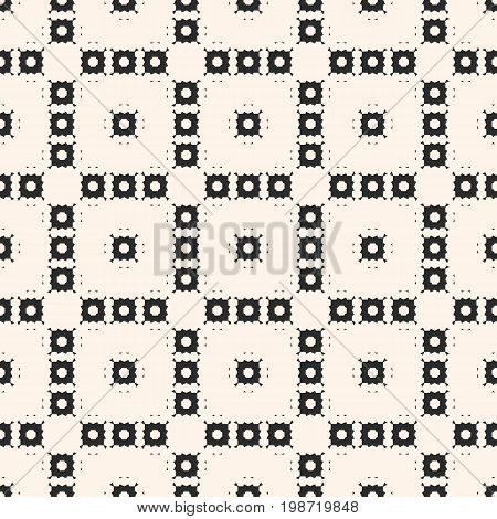 Vector monochrome texture. Ornamental seamless pattern with square figures, geometric floral shapes, repeat tiles. Delicate abstract mosaic background. Design element for fabric, manufacturing. Square pattern, geometric pattern, design pattern.