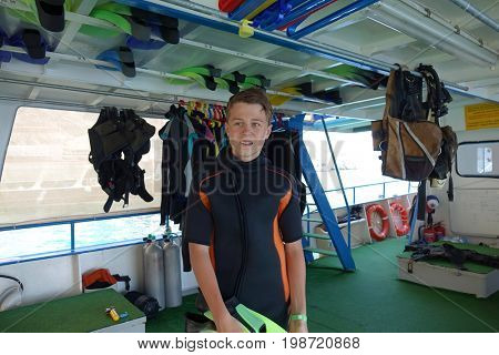young diver with flippers