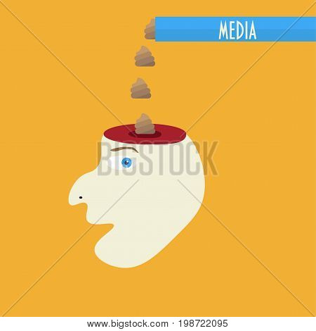 Media brainwashing concept vector illustration.  Fake news forming desired opinion are drawn as shit or poop. Media manipulation, brain wash and censorship satire.
