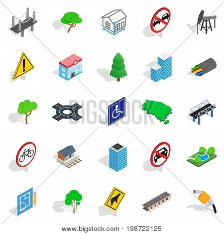 Crossroad icons set. Isometric set of 25 crossroad vector icons for web isolated on white background