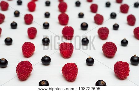 Lines From Sweet Fresh Organic Raspberries And Blackberries, Free Space. Fresh Berries On White Wood