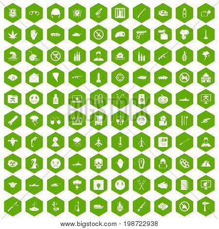 100 oppression icons set in green hexagon isolated vector illustration poster