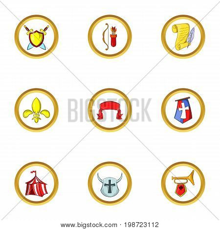 Medieval army icon set. Cartoon set of 9 medieval army vector icons for web isolated on white background