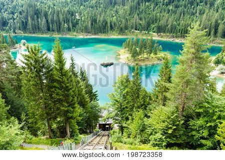 Caumasee In Switzerland Lake With Turquoise Water