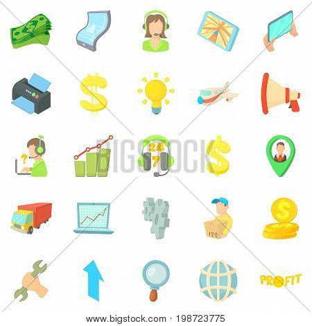 Calculation of salary icons set. Cartoon set of 25 calculation of salary vector icons for web isolated on white background