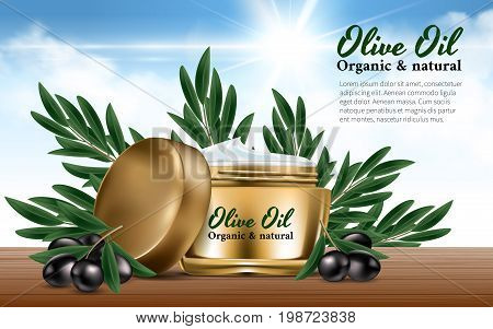 Realistic Gold Women Jar Cream for Face Branch black olives. Olive Oil. Excellent Advertising. Bottle Mockup Dazzling Background. Contained in Glass. Cosmetic Design Product. 3D Vector Illustration.