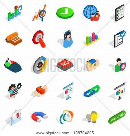 Excellent worker icons set. Isometric set of 25 excellent worker vector icons for web isolated on white background