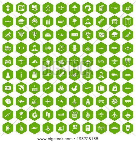 100 plane icons set in green hexagon isolated vector illustration