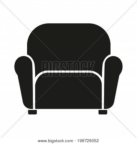 Simple icon of armchair. Couch, sofa, rest area. Furnishing concept. Can be used for topics like furniture, service, living room