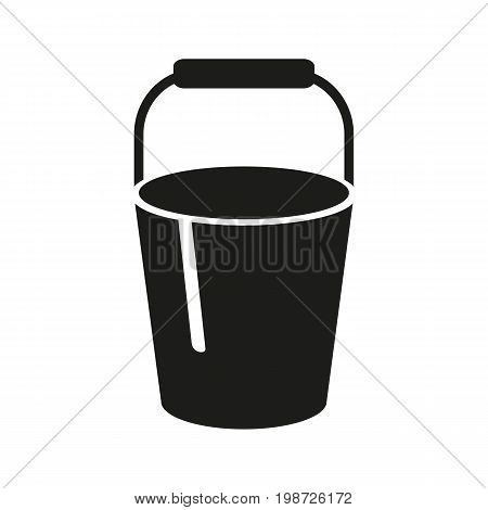 Simple icon of bucket. Sandbox, bin, housework. Garden concept. Can be used for topics like gardening, housekeeping, cleaning service