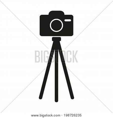 Simple icon of camera on tripod. Photo session, shooting, photo equipment. Photography concept. Can be used for topics like art, leisure, entertainment
