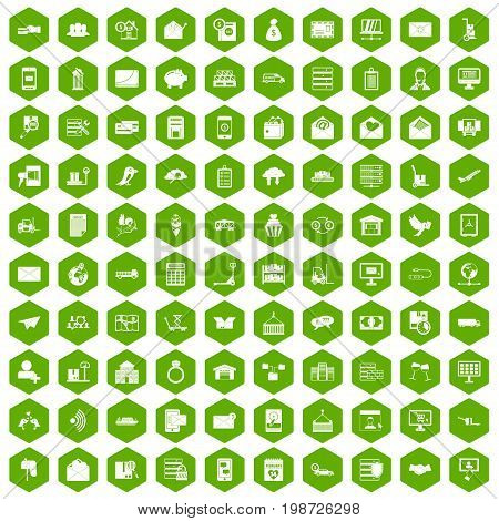 100 postal service icons set in green hexagon isolated vector illustration